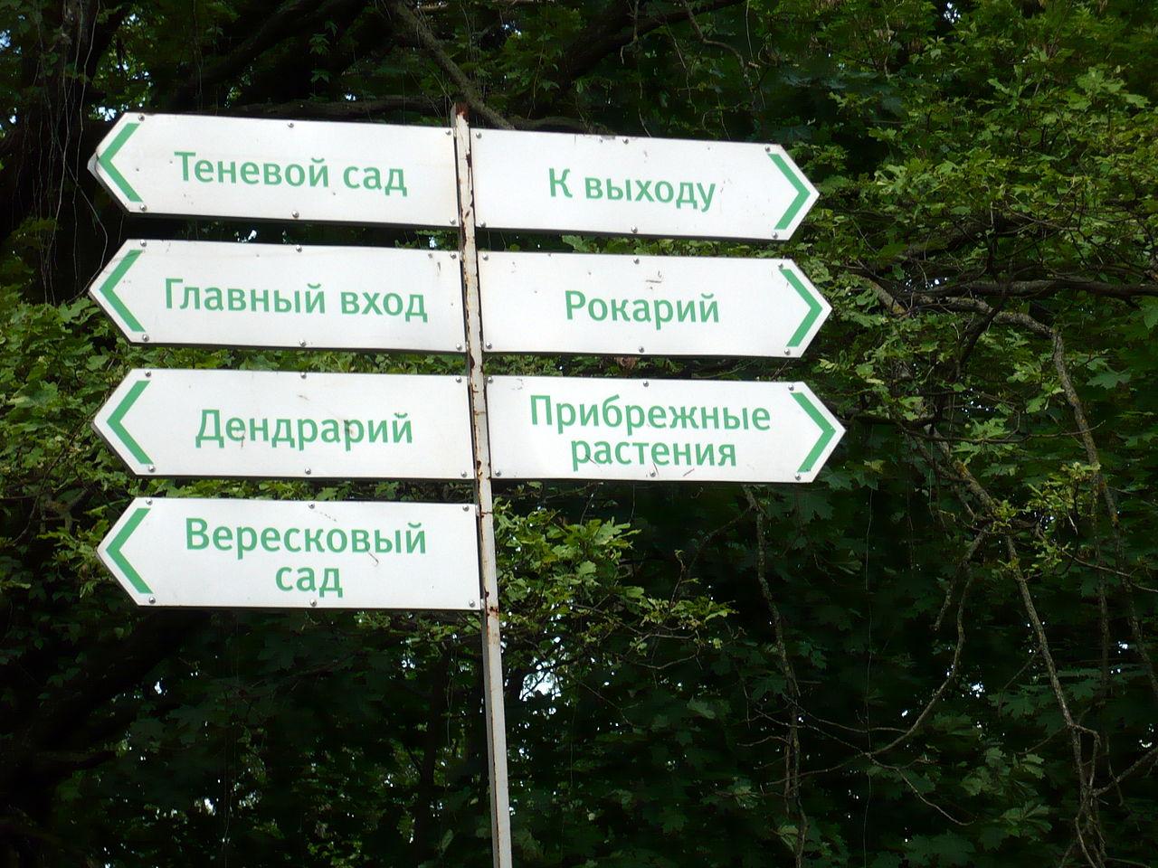 Главный ботанический сад РАН, указатели