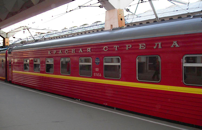 Фирменный поезд «Красная стрела» на Московском вокзале Санкт-Петербурга