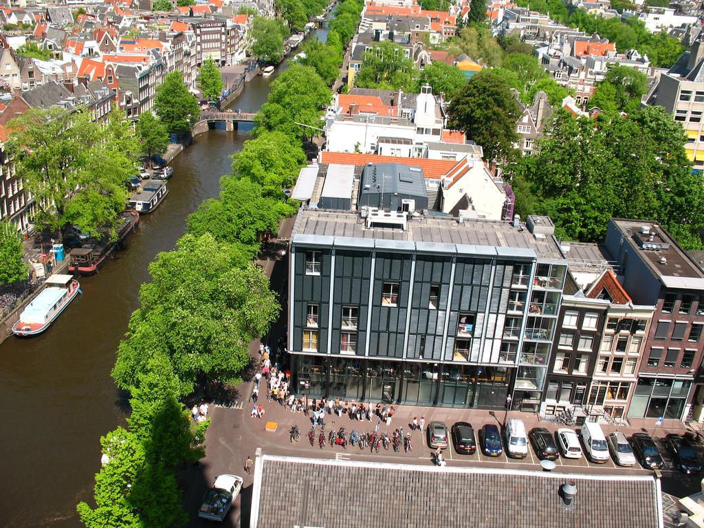 Вид на дом Анны Франк с высоты, Амстердам