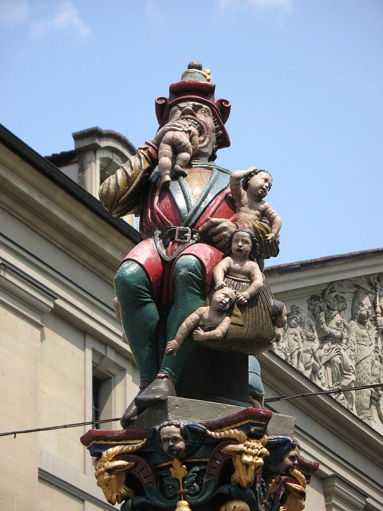 Фонтан Пожиратель детей на площади Корнхаусплац
