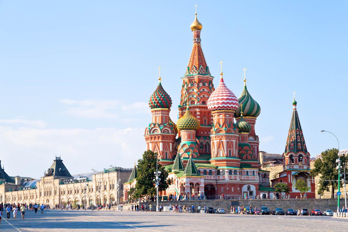 Вид на Красную площадь в Москве, Россия