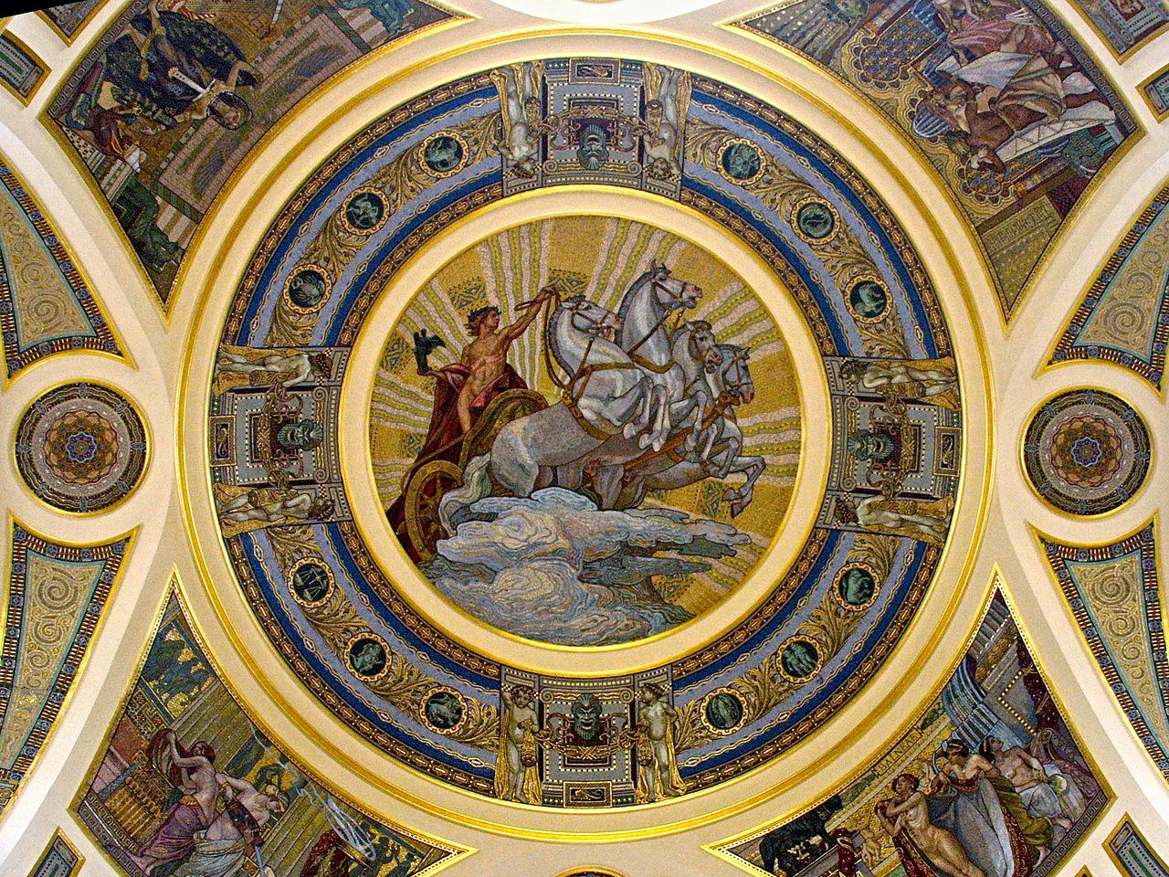 Купальня Сечени, мозаика в куполе