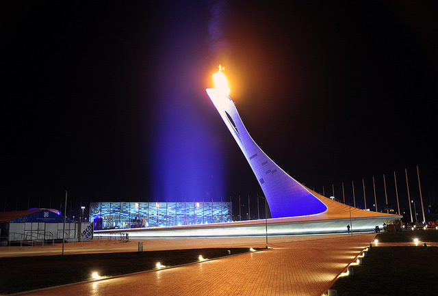 Олимпийский парк Сочи ночью, Сочи