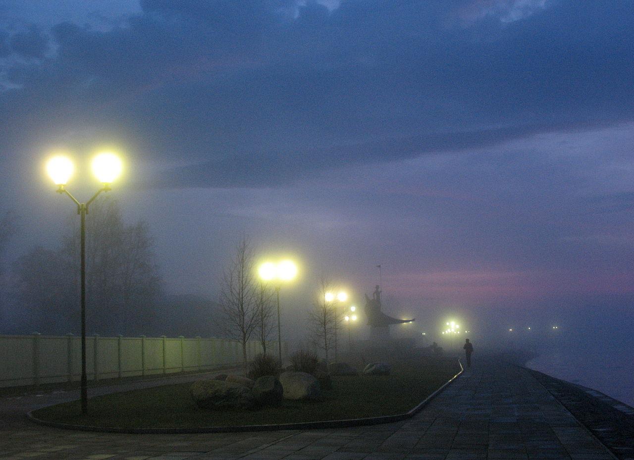 Онежская набережная, туман