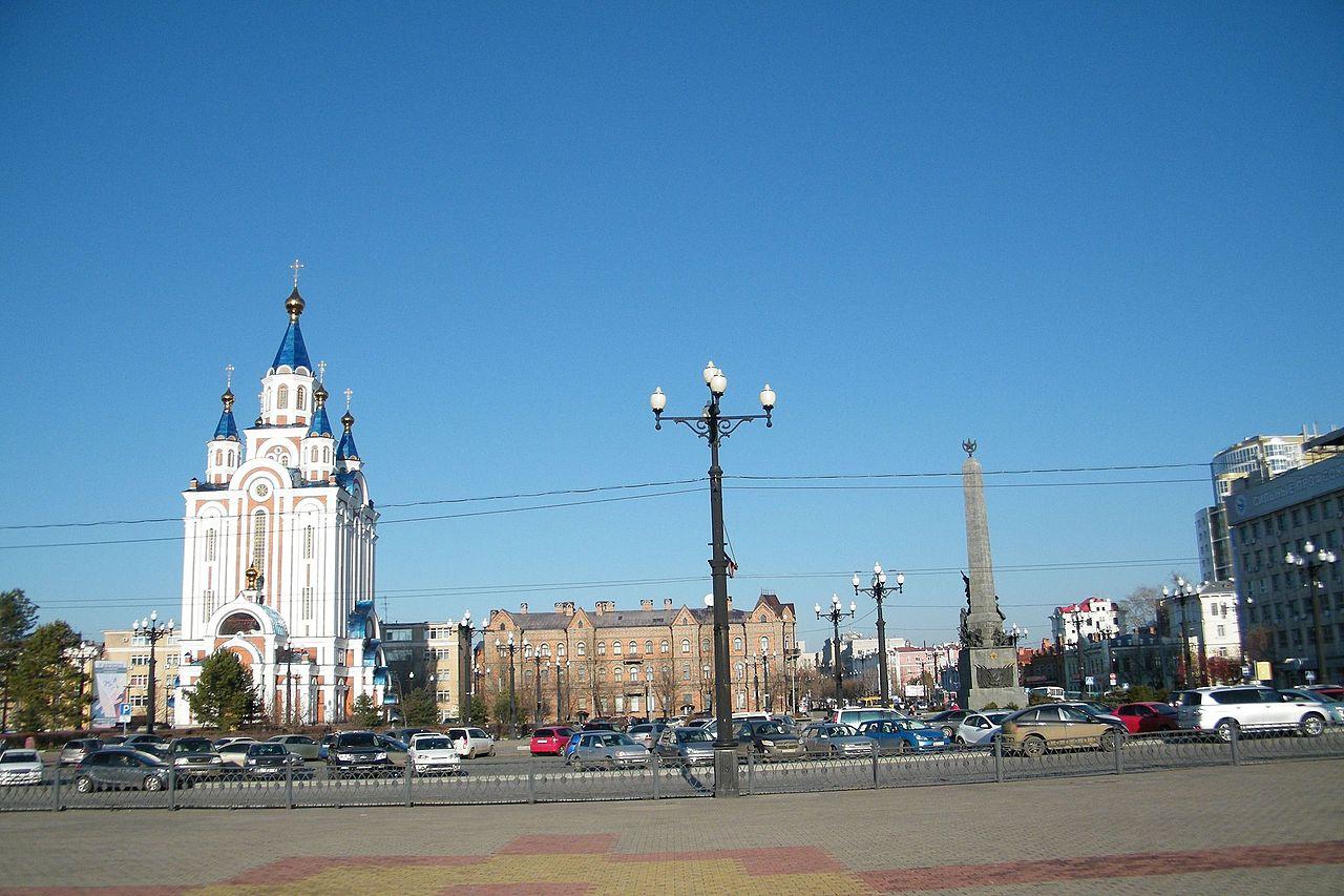 Соборная площадь и Успенский собор, Хабаровск