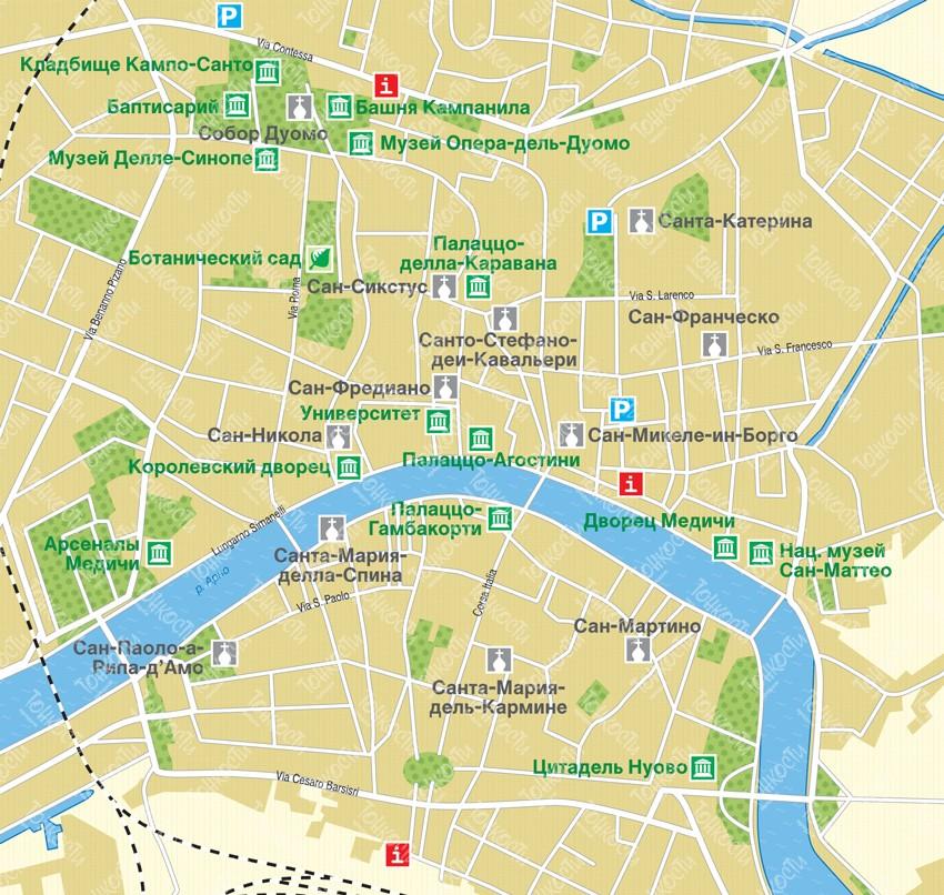 Karta Pizy Podrobnaya Karta Otelej I Turisticheskih Obektov Pizy
