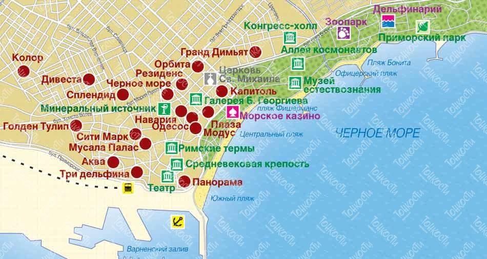 Karta Varny Podrobnaya Karta Otelej Podemnikov I Zon Kataniya