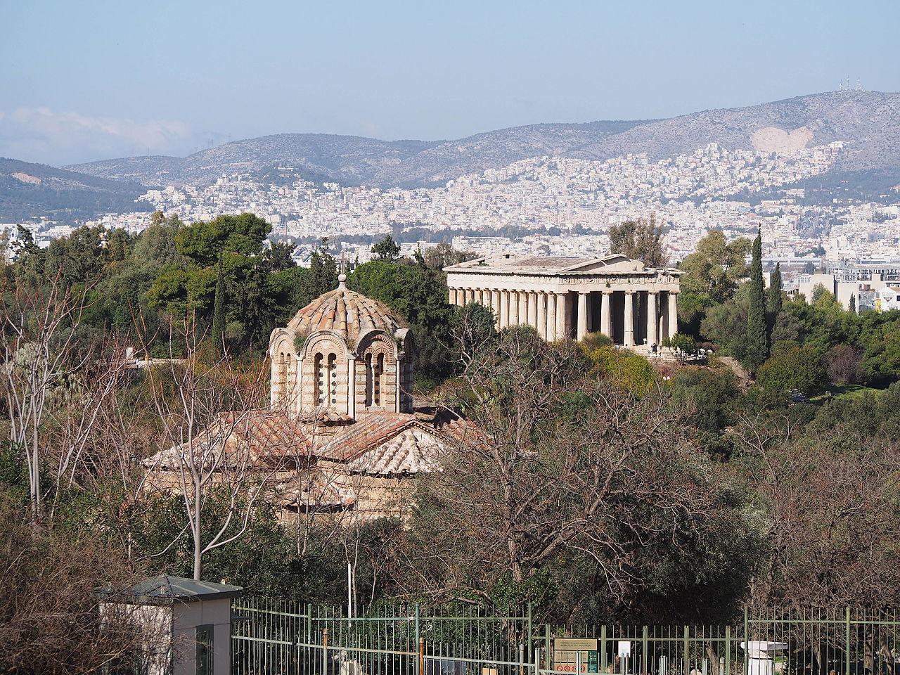 Храм Гефеста, вид на Афины