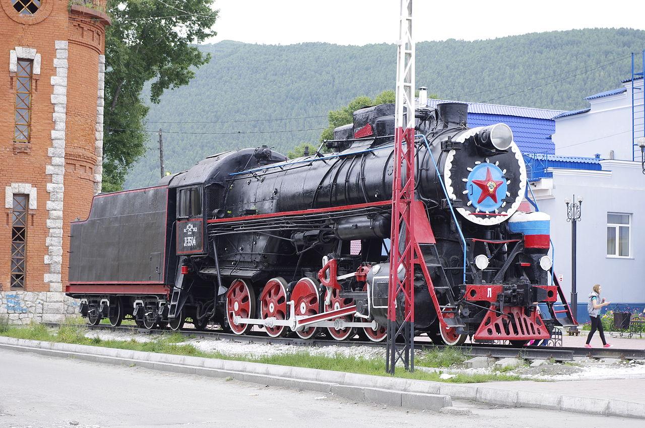Кругобайкальская железная дорога, паровоз Л-4045 в Слюдянке