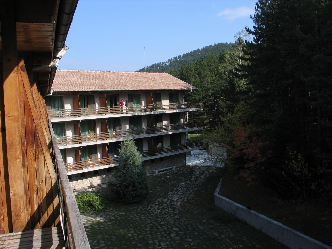 Вид из балкона на лес и другое крыло, под ним находится внутренний бассейн
