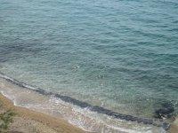 Пляж с черными кульками для более быстрого прогрева воды
