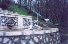 Курортный парк. Фрагмент большой каскадной лестницы.