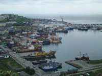 Вид на порт в городе Корсаков
