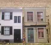 Необычная стена в Белграде. Какбы декорации на улице.