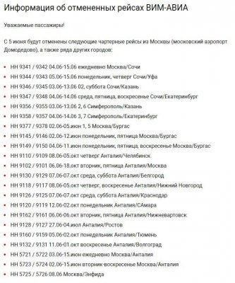 Полный список отмененных чартеров