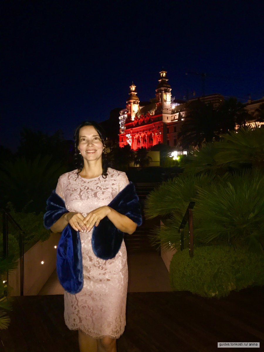 Monaco, Monte Carlo by night. Монако, Монте-Карло вечером