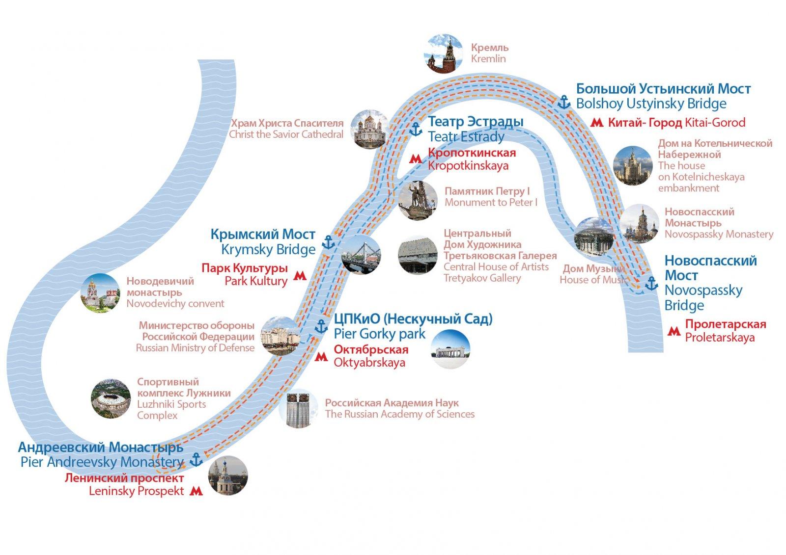 Экскурсия на теплоходе по Москве-реке (с апреля по октябрь)